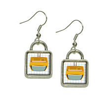Retro Television Vintage Technology Dangling Drop Square Charm Earrings