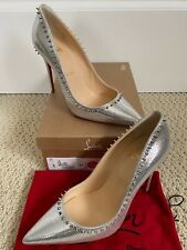 Christian Louboutin Anjalina Silver Lizard Embossed Spikes Pointed Pumps Sz 37 7