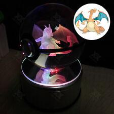 Pokemon Charizard 3D LED palla di cristallo Luce Notturna  Lampada Regalo 80mm