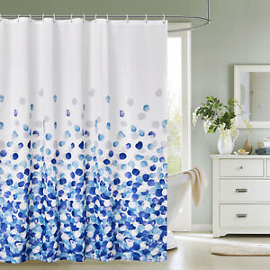Luxury Printed Shower Curtain Mould & Mildew Resistant + 12 Hook Extra Long Wide