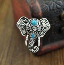 Turquoise Silver Elephant Ring Detailed Craftmanship Adjustable Free Gift Box