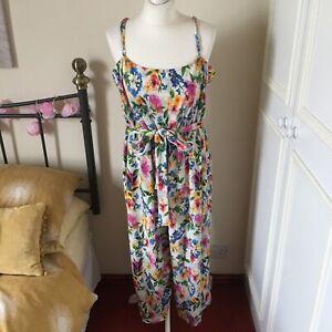 Women's, Next, UK 20, Jumpsuit, Multi Coloured, Floral Print, Light, Beach Wear
