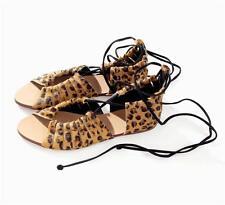 Zara leopardo cuero zapatos sandalias de suela plana 6.5 EUR 37/UK 4/USA