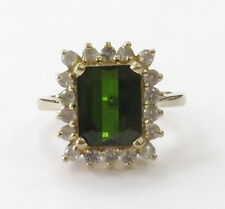 14k Yellow Gold Green Stone Halo Style Ladies Ring ~5.3g