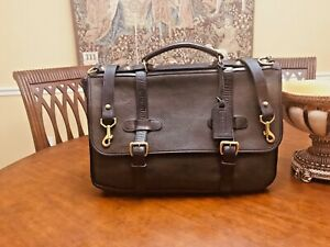 COLE HAAN Military Style Rustic Heavy Leather Briefcase / Messenger Bag- US Made