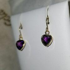 93a4b721a Jared 14k Yellow Gold beveled Purple Amethyst dangle Drop charm heart  earrings