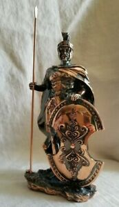 """Roman Warrior with Spear and Shield Statue, 10 1/2"""" tall"""