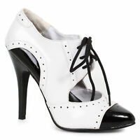 Ellie 511-GANGSTER Black White 5 inch Heel Two Tone Closed Toe Oxford