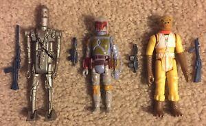 Lot Of 3 Vintage Star Wars ESB Figures Boba Fett Bossk IG-88 Complete Weapons!!!