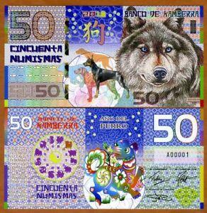 Kamberra, POLYMER, 50 Numismas, 2018, China Zodiac Lunar Year of the Dog