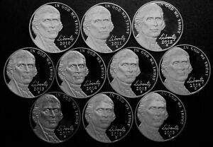 2010-2019 S Jefferson Nickel Gem Cameo Proof Run 10 Coin Decade Run US Mint Lot.
