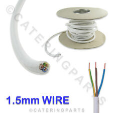 3M of 3 CORE 1.5mm HEAT RESISTANT 90°C HIGH TEMPERATURE WHITE MAINS WIRE CABLE