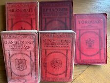 SET OF 5 OLD WARD LOCK RED GUIDES - 1920s - full of maps, plans & illustrations