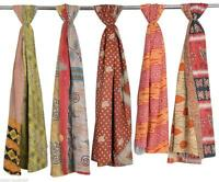 5 Pc Lot Vintage Kantha Handmade Scarf Fashion Bandana Assorted Cotton Stole