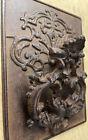 Ornate Large Wrought Iron Door Knocker w/ Back Plate Rusty On Black Heavy