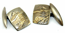 Vintage ASIAN Modernist Sterling Silver PAGODA & Mountain Scenic Cufflinks