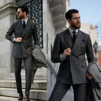 Fashion Men's Suits Grey Tuxedos Double Breasted For Wedding Business Formal New