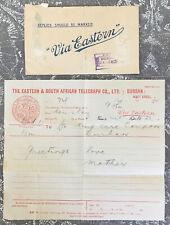 vtg 1924 EASTERN & SOUTH AFRICAN TELEGRAPH CO. DURBAN Telegram & Envelope