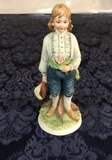 Vintage Lefton Figurine Kw3990 Boy in Knickers Holding Bouquet Feather Hat F149