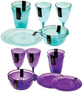 Soleil Plastic Picnic Garden BBQ Party Cups Tumblers Wine Glasses Plates Bowls