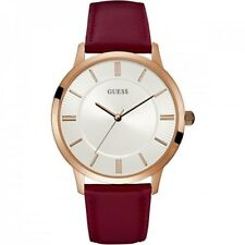 Guess W0664G6 Men's Red Leather Band With White Analog Dial Watch