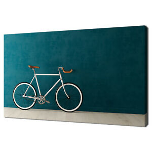 VINTAGE WHITE BICYCLE MINIMALISM MODERN DESIGN CANVAS PRINT WALL ART PICTURE
