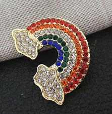 Rainbow Betsey Johnson Brooch Pin Women's Mixed Color Crystal Cute