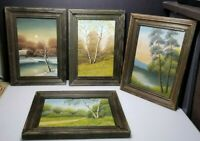 Collection 4 1884 Antique Miniature Oil Paintings Landscape Scenes Signed Dated