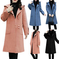 Ladies Hoodie Jacket Comfy Long Fleece Button Cardigan Coat Winter Warm Outwear