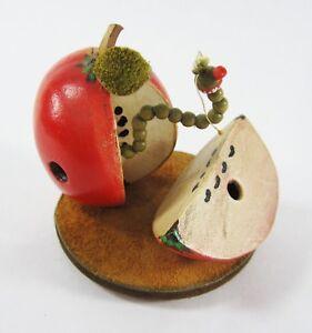 Vintage Folk Art Leather Sculpture Whimsical Worm Apple Terry Lyla CA Artist