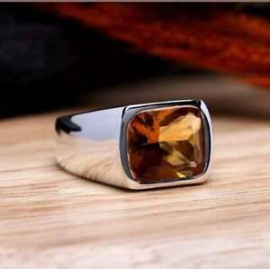Genuine Transparent Cushion Shape 8.00CT Orange Citrine Solitaire Mens Fine Ring