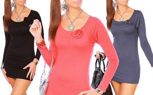 "Womens New Collection - Nice Tunic Mini Dress with Rose on Neckline ""Alisa"" 4009"
