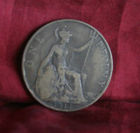 1917 Great Britain 1 One Penny Bronze World Coin Seated Trident UK England