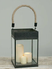 Country new large black tin/glass pillar candle lantern w / jute handle /nice