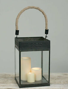 Large Candle Lantern with Jute Handle in distressed Tin