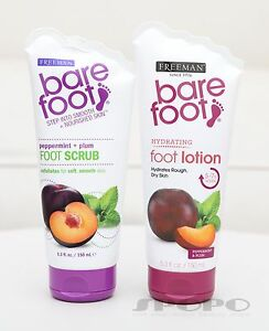 Freeman Bare Foot Peppermint + Plum Foot Scrub / Hydrating Foot Lotion