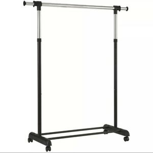 Mainstays Adjustable Rolling Garment Rack, Chrome & Black