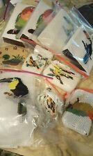 TROPICAL BIRDS LoT Plastic Canvas Needlepoint Purse Handbag + Handmade Vtg HUGE