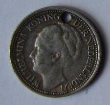 1941 WILHELMINA KONINGIN DER NEDERLANDEN SILVER TEN CENT COIN CIRCULATED