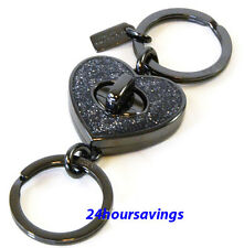 New COACH Black GLITTER ENAMEL Love Heart Turn Lock Valet Key Chain Ring 58512