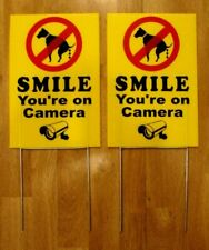 """2 No Dog Poop -Smile You'Re On Camera 8""""X12"""" Plastic Coroplast Signs w/Stakes Y"""