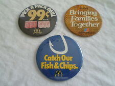 Lot 3 Vintage McDonald's Button Pin Pinback United Airlines Coca Cola Fish Chips