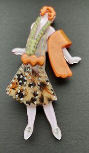 ACRYLIC  LUCITE  PLASTIC  ART DECO  STYLE  LADY  ORANGE  BROWN  BROOCH