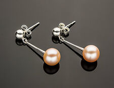 Freshwater Pearl Earrings 925 Sterling Silver Peach Post Dangle iDu Jewelry