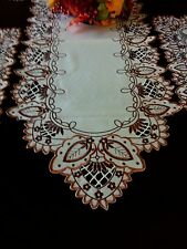 """16""""x54""""Embroidered Tablecloth Cutwork Design Table Runner TableTopper Home Decor"""