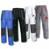 Men Work Trousers Pants Painters Decorators White NEW Black Blue Cotton Lux&J.