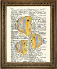 Amarillo peces Diccionario impresión: tropical del océano Arte Colgante De Pared En Vintage De Papel