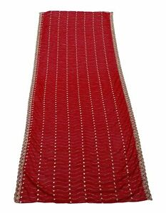 Red Dupatta Vintage Embroidered Shawl Indian Craft Women's Chunni EMBDP8663