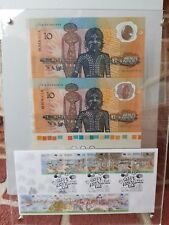 UNCUT PAIR 1988 $10 BICENTENARY NOTES W SIDE & BOTTOM SELVEDGE in display case+