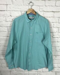 NEW Tommy Bahama Mens Aqua Gingham Long Sleeve Button Down Shirt Size Large